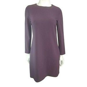 Theory Dark Plum Knit Minimalist Sheath Dress